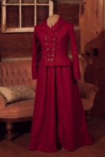 Red Wool, Edwardian Walking Dress